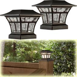 "2-PACK BRONZE SOLAR LED DECK POST CAP LIGHT 4""x4"" 6""x6"" Outd"