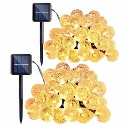Qedertek 2-Pack Globe Solar String Lights, 20ft 30-LED Cryst