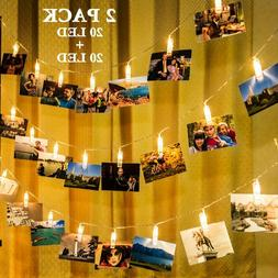 GIGALUMI 2 Pack Hanging Photo Clips Fairy String Lights 20ft