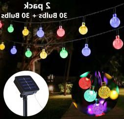 2 Pack Solar 30 LED String Light Ball Garden Yard Decor Lamp
