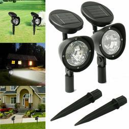 2 Pack Solar 4 LED Spot Light Outdoor Garden Landscape Flood