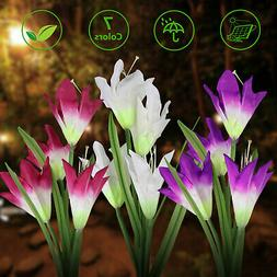 2 Pack Solar 8 Lily Flower LED Lights For Garden Patio Backy