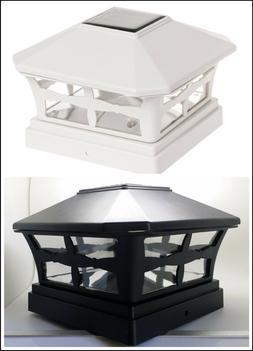 """2-Pk Solar Black / Off White Fence Cap Lights for 5""""X5"""" Viny"""