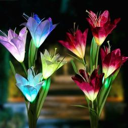 2 Pack Color-Changing Solar Lamp Outdoor Flowers Fairy Light