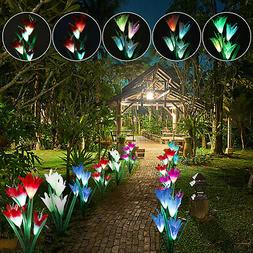 2 Pack Solar Garden Lights Outdoor Multi-Color Lily Flowers