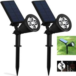 2-PACK Lemontec Solar Light 2-in-1 Adjustable 4 LED Wall and