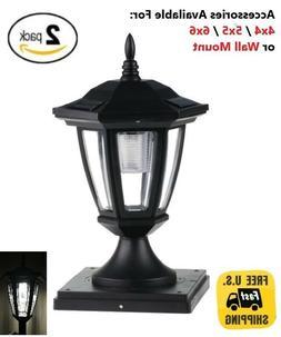 2 Pack Solar Light Black Post Cap White LED 4x4 /5x5 /6x6 Or