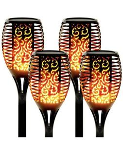 """2 Pack,  Solar Light Tiki Torch TALL 36"""", LED Flame Switch O"""