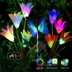 2 Pack Solar Powered Garden Lights Outdoor  Lily /Rose Flowe
