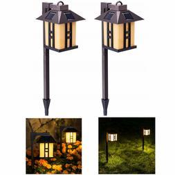 GIGALUMI 2 Pack Solar Powered Path Lights Outdoor Garden Lig