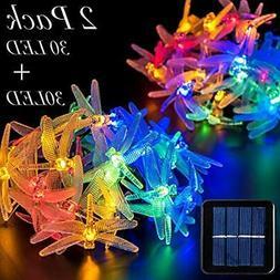 GIGALUMI 2 Pack Solar Strings Lights, 20 Feet 30 LED Dragonf