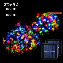 2 Pack Solar Strings Lights, GIGALUMI 23 Feet 50 LED Flower