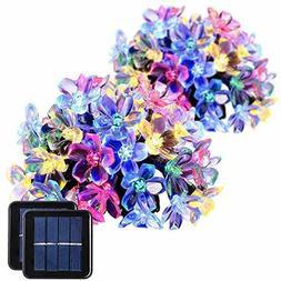 GIGALUMI 2 Pack Solar Strings Lights, 23 Feet 50 LED Flower
