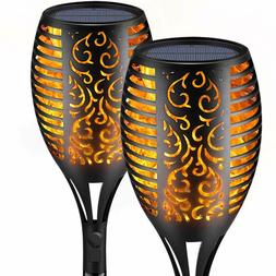 2 Pack Solar Torch Lights, Flickering Flame Torch Lights Out
