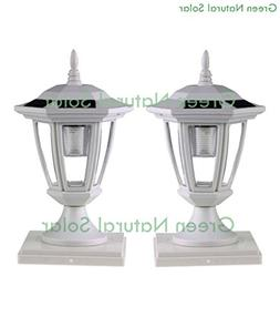 2-Pack WHITE Solar Hexagon Post Cap Lights with WHITE LEDS f