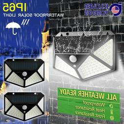 2 Pack100 LED Solar Lights Outdoor Wireless Motion Sensor Wa