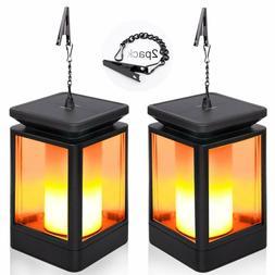 2 PCS Solar Flame Lights, Hanging Lanterns Flickering Torch