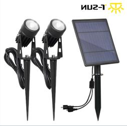 2 Pcs Solar Powered LED Spotlights Outdoor Waterproof Securi