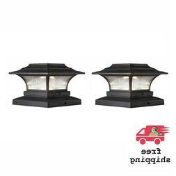 2 Pk Deck Post Light LED Solar Outdoor Fence Cap Bronze Squa