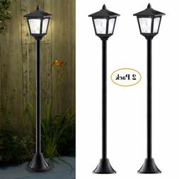 2 PK Solar Lamp Post Lights Outdoor Solar Powered Vintage St