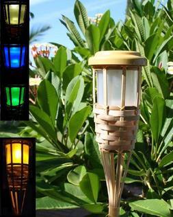 2 Solar Bamboo Tiki Torch Landscape Lights 5 LEDs Amber Flic
