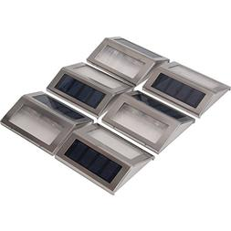 Signstek 6 Pack 2 LED Solar Powered Wireless Stainless Steel