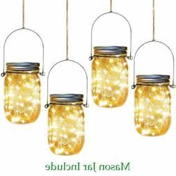 20 LED Solar Mason Jar Lid Lights Chandelier Fairy String Li