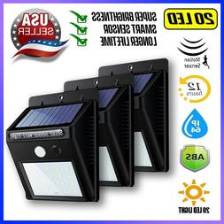 3X Outdoor 20 LED Solar Wall Lights Power Motion Sensor Gard