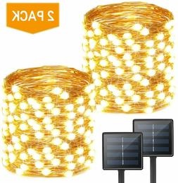 200 LED Solar Lights Outdoor String  2-Pack Each 72ft
