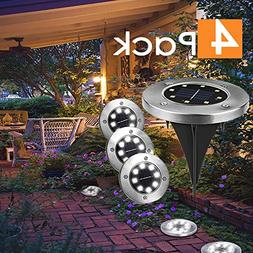2019 New 4 Pack Solar Ground Light Waterproof Disk Lights 8