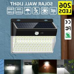 206 LED Outdoor Solar Power Wall Lamp Motion Sensor Security