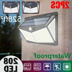 208 LED Solar Power PIR Motion Sensor Wall Light Outdoor Gar