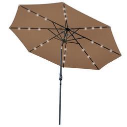10 FT Solar Powered Patio Umbrella 24LED Lights Solar Umbrel