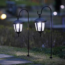 MAGGIFT 26 Inch Hanging Solar Lights Dual Use Shepherd Hook