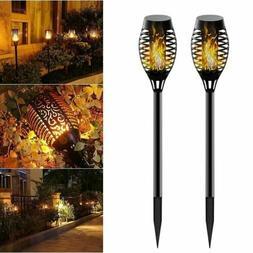 2Pack LED Solar Torch Lights Flickering Dancing Flame Garden