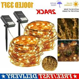 2Pack Outdoor Solar Powered 33Ft 10m 100 LED Copper Wire Wat