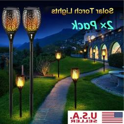 2Pack Solar Power Waterproof 96LED Flickering Flame Lights L