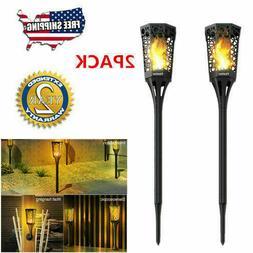 2PACK Solar Torch Lights Flickering Dancing Flames Garden La