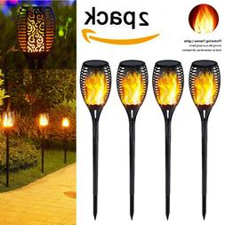 US 2PCs 33LED Solar Power Torch Light Flickering Flame Garde
