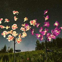 2PC Solar Garden Lights Orchid Flowers Stake Lamp For Yard O