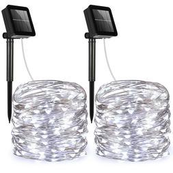 2pcs_20m 200 LED Solar Strip Fairy Copper Wire String Lights