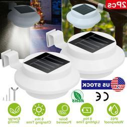 2Pcs 3 LED Solar Power Gutter Light Outdoor/Garden/Yard/Wall