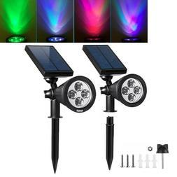 2pcs 4 Power Solar LED Landscape Light Spotlights Outdoor Ga
