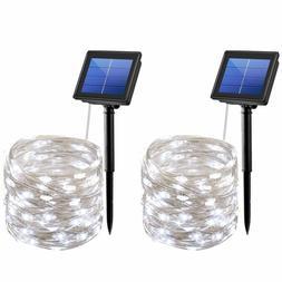 2pcs 72FT Waterproof 200 LED Solar Fairy String Strip Light