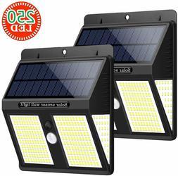 2pcs Solar Lights Outdoor 250 LEDs Solar Motion Sensor Light