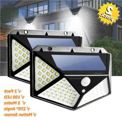 2PCS Solar Motion Sensor LED Lights Outdoor Flood Wall Garde