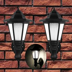2pcs Waterproof Wall Mount Solar Lights Outdoor Pathway Gate