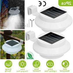 2X LED Solar Powered Gutter Lights Outdoor Garden Yard Wall