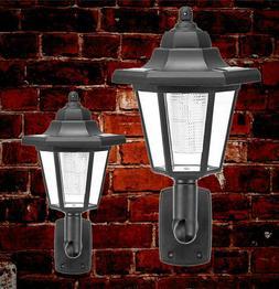 2X LED Solar Wall Lights Night Sensor Outdoor Garden Garage