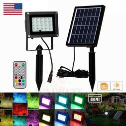 2X RGB 20 LED Spot Light Solar Power Flood Lights Security G